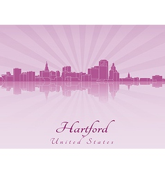 Hartford skyline in purple radiant orchid vector image