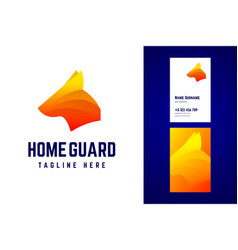 Home guard logo and business card template vector
