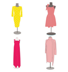 icons with women dresses vector image