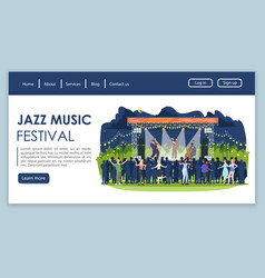 Jazz music festival landing page template night vector