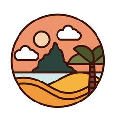 landscape nature tropical sea palm sunset mountain vector image