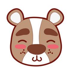 Line color shy bear head wild animal vector