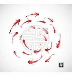 little red fishes in circle on white background vector image