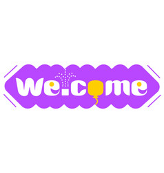 Long purple banner with word welcome vector