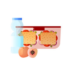 lunch box with healthy food two sandwiches peach vector image
