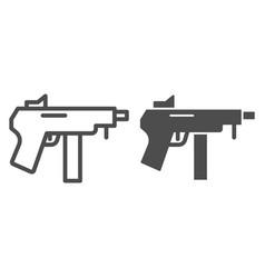 machine gun line and glyph icon automatic bomb vector image