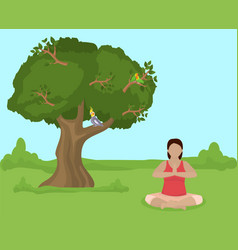 Meditating young woman sit in lotus yoga position vector
