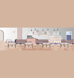 modern fast food restaurant with counter tables vector image