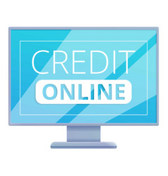 Monitor online credit icon cartoon style vector