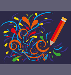 Multicolored curls draws a pencil advertising of vector