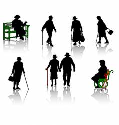 Old people silhouette vector