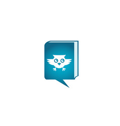 owl open eyes and fly in a chat icon for logo vector image