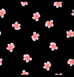 Peach blossom seamless on black background vector