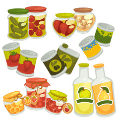 Preserved food in jars and bottles collection on vector