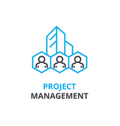 project management concept outline icon linear vector image