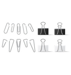 realistic paperclip and binder for file attachment vector image
