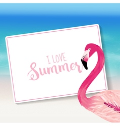 Realistic Sea Background Tropical Flamingo Bird vector image