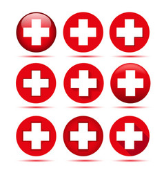 Red cross icons vector
