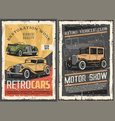 Retro cars restoration garage vintage motor show vector