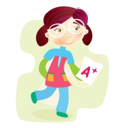 school girl with test result vector image