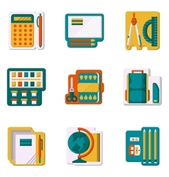 School supplies flat color icons vector image
