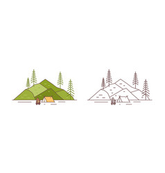 set colorful and monochrome touristic camp at vector image