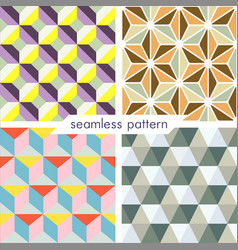 Set of four seamless geometrical patterns 9 vector