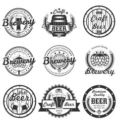 set vintage craft beer labels badges vector image
