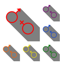 sex symbol sign set of red orange yellow green vector image