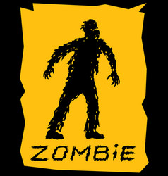 Silhouette of a walking zombie concept vector