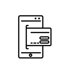 smartphone bank card app business cash money line vector image