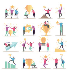 Successful workers icons collection vector