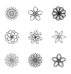 summer flower icon set simple style vector image