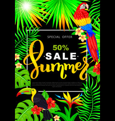 Summer sale vertical poster with parrot toucan vector