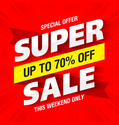 super sale banner this weekend only special offer vector image