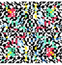 symmetrical ornament colorful geometric shapes vector image
