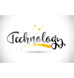Technology word text with golden stars trail and vector