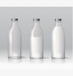 transparent glass milk bottles dairy products vector image