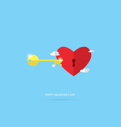 Unlock red heart valentine concept vector