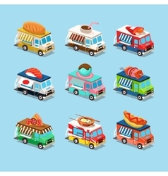 Vans with Food in Style an Isometric vector image