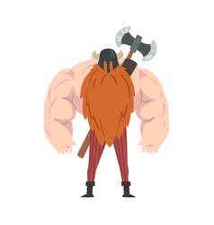 Viking warrior battle double axe muscular red vector