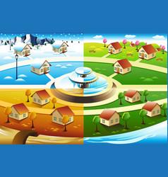 village in four season vector image