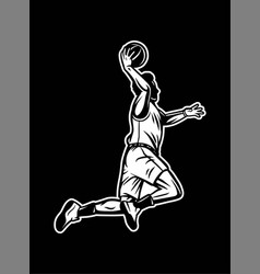 vintage retro player run and do dribble black vector image