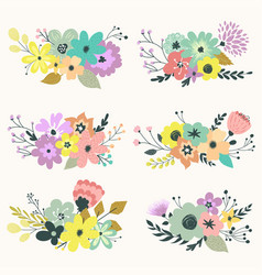 vintage set of floral compositions in vector image