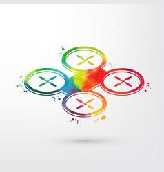 watercolor drone quadrocopter icon isolated on vector image