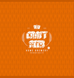 Wheat seamless pattern and craft beer label vector