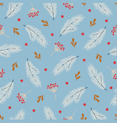 winter seamless pattern with berries fir branches vector image