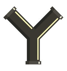 y joint pipe icon flat style vector image
