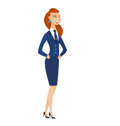 young caucasian stewardess laughing vector image