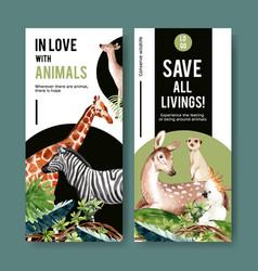 Zoo flyer design with giraffe zebra meerkat vector
